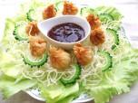 Recipe Image 豆腐とゴーヤともやしの揚げワンタン・甘酢あん